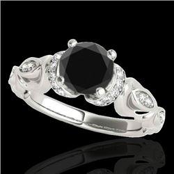 1.2 CTW Certified VS Black Diamond Solitaire Antique Ring 10K White Gold - REF-57Y3K - 34678
