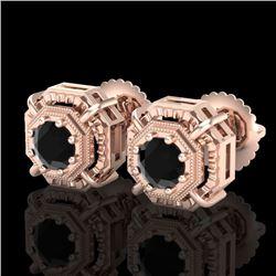 1.11 CTW Fancy Black Diamond Solitaire Art Deco Stud Earrings 18K Rose Gold - REF-100T2M - 37451