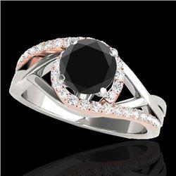 1.3 CTW Certified VS Black Diamond Bypass Solitaire Ring 10K White & Rose Gold - REF-69T5M - 35082