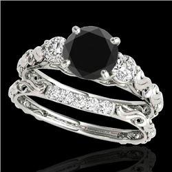 1.35 CTW Certified VS Black Diamond 3 Stone Set 10K White Gold - REF-51W6F - 35433