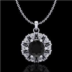 1.2 CTW Fancy Black Diamond Art Deco Micro Pave Stud Necklace 18K White Gold - REF-82T8M - 37737