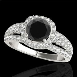 2.25 CTW Certified VS Black Diamond Solitaire Halo Ring 10K White Gold - REF-106Y5K - 34010