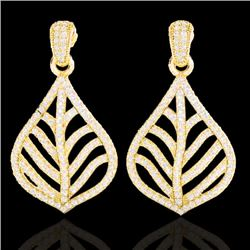 2.50 CTW Micro Pave VS/SI Diamond Earrings Designer 18K Yellow Gold - REF-214W5F - 21152