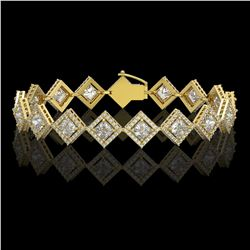 11.7 CTW Princess Cut Diamond Designer Bracelet 18K Yellow Gold - REF-2148N4Y - 42799