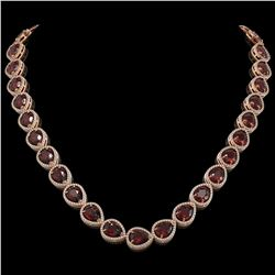 36.8 CTW Garnet & Diamond Halo Necklace 10K Rose Gold - REF-592N9Y - 41232
