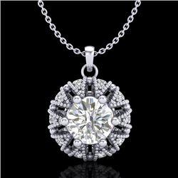 1.2 CTW VS/SI Diamond Art Deco Micro Pave Stud Necklace 18K White Gold - REF-220M2H - 36998