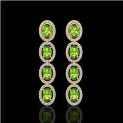 5.88 CTW Peridot & Diamond Halo Earrings 10K Yellow Gold - REF-112A5X - 40531
