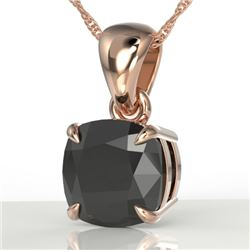 3 CTW Cushion Cut Black VS/SI Diamond Designer Necklace 14K Rose Gold - REF-73X3T - 21934