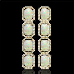 12.99 CTW Opal & Diamond Halo Earrings 10K Yellow Gold - REF-203M3H - 41587