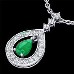 1.15 CTW Emerald & Micro Pave VS/SI Diamond Necklace Designer 14K White Gold - REF-61T8M - 23166