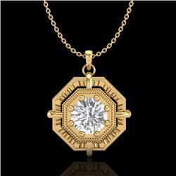 0.75 CTW VS/SI Diamond Art Deco Stud Necklace 18K Yellow Gold - REF-202X5T - 36880