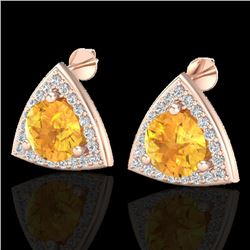 3 CTW Citrine & Micro Pave Halo VS/SI Diamond Stud Earrings 14K Rose Gold - REF-51X6T - 20184
