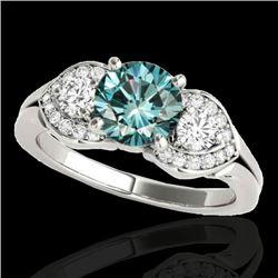 1.7 CTW Si Certified Fancy Blue Diamond 3 Stone Ring 10K White Gold - REF-218K2W - 35345