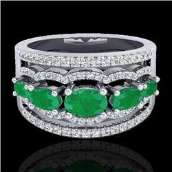 2.25 CTW Emerald & Micro Pave VS/SI Diamond Designer Ring 10K White Gold - REF-71F3N - 20800