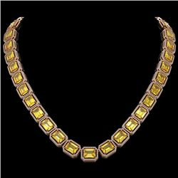 77.35 CTW Fancy Citrine & Diamond Halo Necklace 10K Rose Gold - REF-737N3Y - 41517
