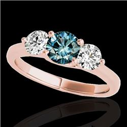 3 CTW Si Certified Fancy Blue Diamond 3 Stone Solitaire Ring 10K Rose Gold - REF-454T5M - 35400