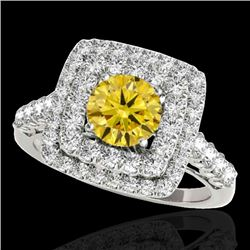 2.3 CTW Certified Si/I Fancy Intense Yellow Diamond Solitaire Halo Ring 10K White Gold - REF-254T5M