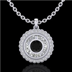 2.11 CTW Fancy Black Diamond Solitaire Art Deco Stud Necklace 18K White Gold - REF-180X2T - 37912