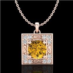 1.02 CTW Intense Fancy Yellow Diamond Art Deco Stud Necklace 18K Rose Gold - REF-143N6Y - 38170