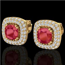 2.16 CTW Ruby & Micro VS/SI Diamond Earrings Solitaire Double Halo 18K Yellow Gold - REF-105K6W - 20