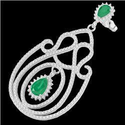 6.40 CTW Emerald & Micro Pave VS/SI Diamond Earrings 14K White Gold - REF-303Y5K - 22425