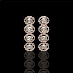 5.33 CTW Oval Diamond Designer Earrings 18K Rose Gold - REF-982N4Y - 42765