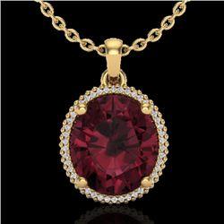 11 CTW Garnet & Micro Pave VS/SI Diamond Halo Necklace 18K Yellow Gold - REF-70A9X - 20613