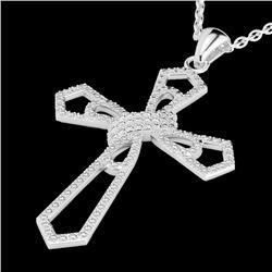1 CTW Micro Pave VS/SI Diamond Cross Necklace 18K White Gold - REF-107Y3K - 22577