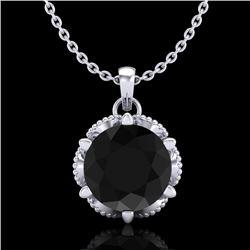 1.36 CTW Fancy Black Diamond Solitaire Art Deco Stud Necklace 18K White Gold - REF-85A5X - 38101
