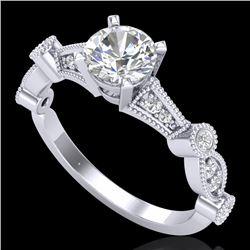 1.03 CTW VS/SI Diamond Art Deco Ring 18K White Gold - REF-203X6T - 36971