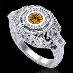 0.75 CTW Intense Fancy Yellow Diamond Engagement Art Deco Ring 18K White Gold - REF-227N3Y - 37819