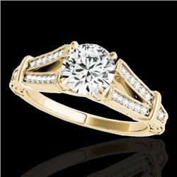 1.25 CTW H-SI/I Certified Diamond Solitaire Antique Ring 10K Yellow Gold - REF-214A5X - 34659