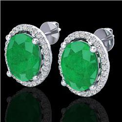 6 CTW Emerald & Micro Pave VS/SI Diamond Earrings Halo 18K White Gold - REF-101A6X - 21053
