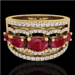 2.25 CTW Ruby & Micro Pave VS/SI Diamond Designer Ring 10K Yellow Gold - REF-71X3T - 20803