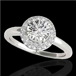 1.43 CTW H-SI/I Certified Diamond Solitaire Halo Ring 10K White Gold - REF-169M3H - 33661