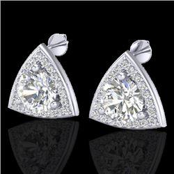 3 CTW Micro Pave Halo VS/SI Diamond Stud Earrings 18K White Gold - REF-824M3H - 20188