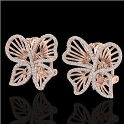 1.25 CTW Designer Micro Butterfly VS/SI Diamond Earrings 14K Rose Gold - REF-106F5N - 22500