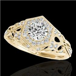 1.4 CTW H-SI/I Certified Diamond Solitaire Antique Ring 10K Yellow Gold - REF-245W5F - 34177