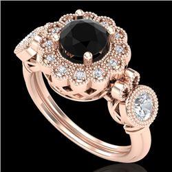 1.5 CTW Fancy Black Diamond Solitaire Art Deco 3 Stone Ring 18K Rose Gold - REF-170F2N - 37850