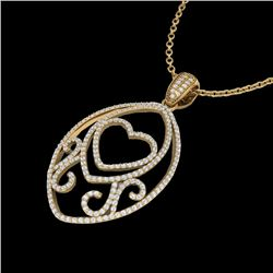 1.75 CTW Micro Pave VS/SI Diamond Designer Heart Necklace 18K Yellow Gold - REF-186X4T - 22590
