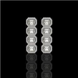 5.33 CTW Emerald Cut Diamond Designer Earrings 18K White Gold - REF-1125T6M - 42791