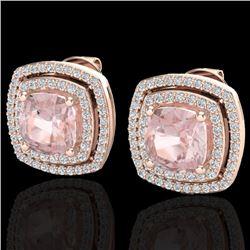 3.95 CTW Morganite & Micro Pave VS/SI Diamond Halo Earrings 14K Rose Gold - REF-106A2X - 20167