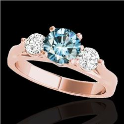 1.5 CTW Si Certified Fancy Blue Diamond 3 Stone Solitaire Ring 10K Rose Gold - REF-180M2H - 35373