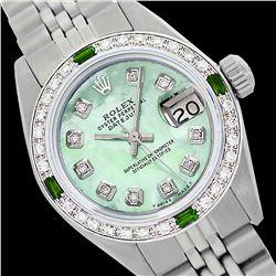 Rolex Ladies Stainless Steel, Diam Dial & Diam/Emerald Bezel, Sapphire Crystal - REF-431F3M