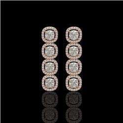 5.28 CTW Cushion Diamond Designer Earrings 18K Rose Gold - REF-981X6T - 42630