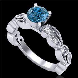 1.01 CTW Fancy Intense Blue Diamond Solitaire Art Deco Ring 18K White Gold - REF-143Y6K - 38272