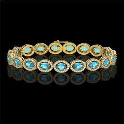14.82 CTW Swiss Topaz & Diamond Halo Bracelet 10K Yellow Gold - REF-230T4M - 40486