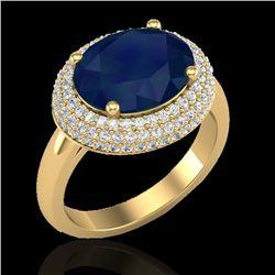 4.50 CTW Sapphire & Micro Pave VS/SI Diamond Ring 18K Yellow Gold - REF-119F6N - 20925