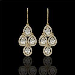 5.22 CTW Pear Diamond Designer Earrings 18K Yellow Gold - REF-969N6Y - 42775