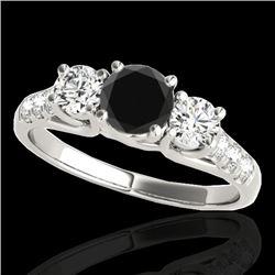 3.25 CTW Certified VS Black Diamond 3 Stone Ring 10K White Gold - REF-254Y5K - 35451
